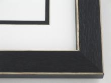 "Custom Picture Frame Sku: 106  1-1/4"" Black Shaker Style W Beveled Edges"