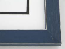 "Custom Picture Frame Sku: 108  1-1/4"" Navy Shaker Style W Beveled Edges"
