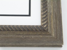 "Custom Picture Frame Sku: 158A  2"" Distressed Brown With Rope Lip"