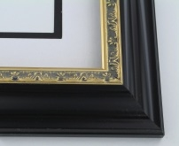 "wood Custom Picture Frame Sku: 181A  2 1/4"" Black W/gold"