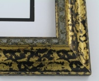 "wood Custom Picture Frame Sku: 182A  2 1/4"" Mottled Blk/gold"