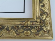 "wood Custom Picture Frame Sku: 189A  4"" Gold W/grey Compo"