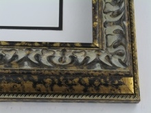 "wood Custom Picture Frame Sku: 191A  2 1/2"" Black/gold Compo Scoop"