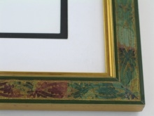 "wood Custom Picture Frame Sku: 202A  1 1/4"" Green W/gold Etch"