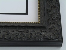 "wood Custom Picture Frame Sku: 203A  3"" Black W/gold Lip"