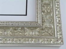 "wood Custom Picture Frame Sku: 222A  4"" Silver Ornate W/grey"