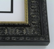 "wood Custom Picture Frame Sku: 225A  2 1/2"" Black Ornate W/gold Lip"