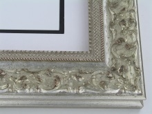 "wood Custom Picture Frame Sku: 226A  3"" Soft Silver Ornate"