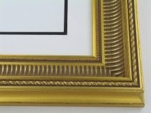 "wood Custom Picture Frame Sku: 228A  3"" Gold W/grey Compo With Grey"