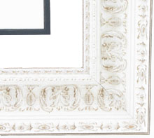 "wood Custom Picture Frame Sku: 262B  2 1/2"" White Ornate"
