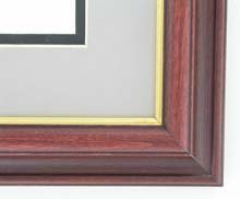 Custom Picture Frame Sku: 317B  1 1/2 Revers Mahogany With Gold Lip