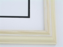 "Custom Picture Frame Sku: 459A  1 1/4"" Natural W/white Lines"