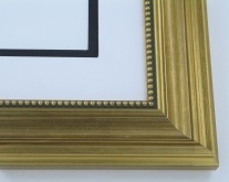 "Custom Picture Frame Sku: 468A  2"" Antique Gold With Beaded Lip"