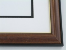 "Custom Picture Frame Sku: 501  1"" Chestnut With Gold Lip"