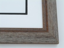 "Custom Picture Frame Sku: 510  1 5/8"" Grey Drift With Black Antique"