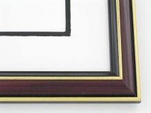 "wood Custom Picture Frame Sku: 520A  1 1/8"" Blk W/burg Marble Gold"