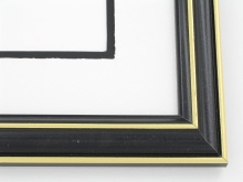 "wood Custom Picture Frame Sku: 527A  1 1/8"" Black With Gold Lines"