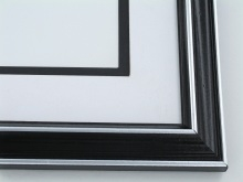 "Custom Picture Frame Sku: 528A  1 1/8"" Black With Silver Lines"