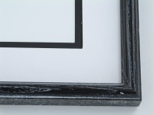 "wood Custom Picture Frame Sku: 588  1""  Black W/ White Wash Round Top"