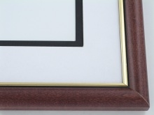 "Custom Picture Frame Sku: 597  1"" Mahogany With Gold Lip"
