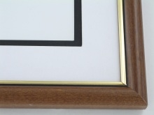 "wood Custom Picture Frame Sku: 598  1"" Chestnut W/ Gold Lip"