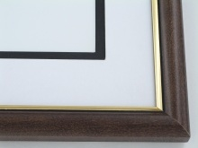 "wood Custom Picture Frame Sku: 599  1"" Walnut With Gold Lip"