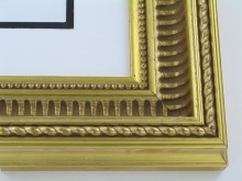 "wood Custom Picture Frame Sku: 680  2 1/2"" Gold Scoop W/ribs"