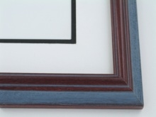"Custom Picture Frame Sku: 692  1 1/4"" Mah. Blue Grey Wire Brush"