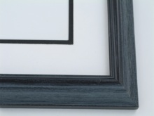 "Custom Picture Frame Sku: 693  1 1/4"" Black Grey Wire Brush"