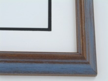 "Custom Picture Frame Sku: 694  1 1/4"" Dark Wal. Blue Grey Wire"