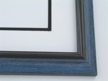 "Custom Picture Frame Sku: 696  1 1/4"" Grey Blue Wire Brush"