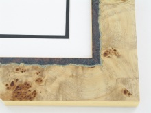 "Custom Picture Frame Sku: 697A  2-1/8"" Birdseye Maple Burl W Green Deckled Edge Veneer"