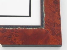 "Custom Picture Frame Sku: 698A  2-1/8"" Cherry Burl W Green Deckled Edge Veneer"