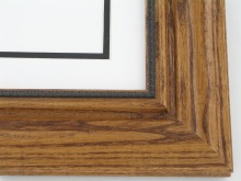 "wood Custom Picture Frame Sku: 699A  2 1/4"" Walnut On Oak With Beaded Lip"