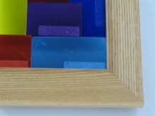 "Custom Picture Frame Sku: 705  1 1/2"" Stain Glass Honey Oak"