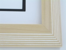"Custom Picture Frame Sku: 726  2"" Reverse Stair Step Natural W/white Highlights"