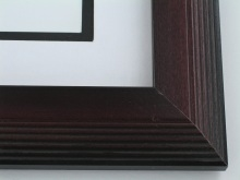 "wood Custom Picture Frame Sku: 729  2"" Reverse Stair Step Two Tone Mahogany"