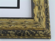 "wood Custom Picture Frame Sku: 746  2 1/4"" Gold/black"