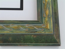 "wood Custom Picture Frame Sku: 749  2 1/4"" Gold W/green Tones"