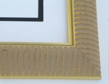 "wood Custom Picture Frame Sku: 760  1 7/8"" Qtr Round Ribbed Gold"