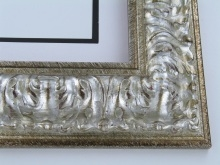 "Custom Picture Frame Sku: 765  3 3/4"" Silver Ornate"