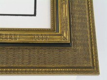 "Custom Picture Frame Sku: 769  4-1/2"" Gold Ornate Flat With Black"