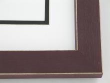 "Custom Picture Frame Sku: 912  1-1/4"" Burgandy Shaker Style W Beveled Edges"