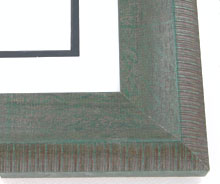 "wood Custom Picture Frame Sku: AAM1020  2 1/2"" Green Scooped Destresed"