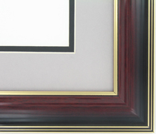 "wood Custom Picture Frame Sku: AAM1200  1 5/8"" Mahogany/gold Lines Gloss"