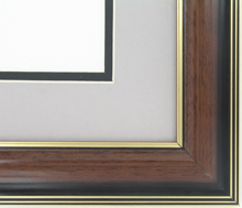"wood Custom Picture Frame Sku: AAM1201  1 5/8"" Walnut/gold Lines Gloass"