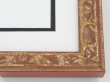 "wood Custom Picture Frame Sku: AAM2007  1-3/8"" Terracotta With Gold Grecian Series"
