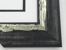 "wood Custom Picture Frame Sku: AAM2019  2-1/2"" Black With Moss Silver Molten Series"