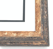 "wood Custom Picture Frame Sku: AAM5012  1-3/4"" Gold With Black Pyramid Square"