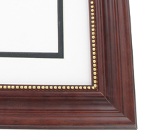 "wood Custom Picture Frame Sku: AAM6000  2"" Mahogany With Beaded Gold Lip"